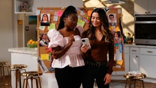 """Laci Mosley as Harper and Miranda Cosgrove as Carly in """"iCarly"""" on Paramount Plus."""
