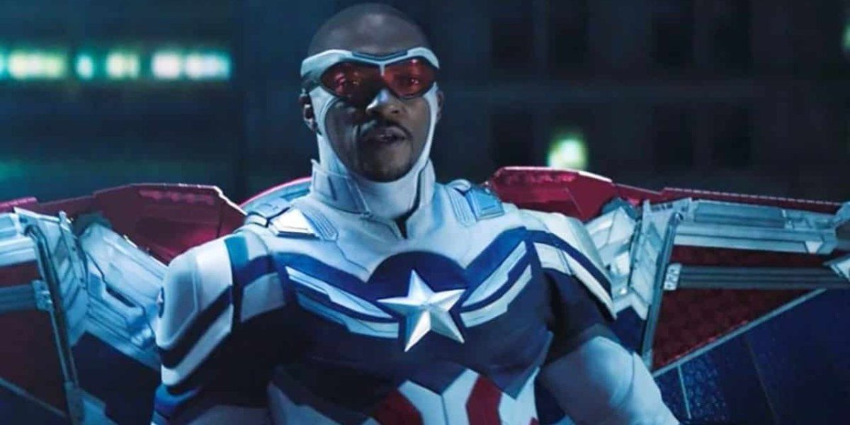 Sam Wilson/Captain America (Anthony Mackie) stares ahead in The Falcon and the Winter Soldier (2021)