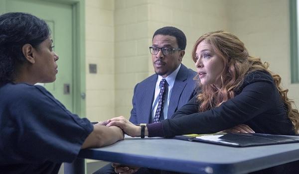 Proven Innocent Rachelle LaFevre comforts an imprisoned client