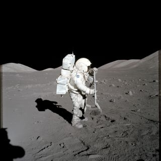 NASA astronaut Harrison Schmitt collected the moon dust later used in this sample as part of the Apollo 17 mission in 1972.