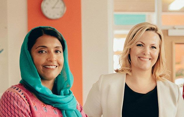 Kaneez (Sunetra Sarker) and Mandy (Jo Joyner) in Ackley Bridge