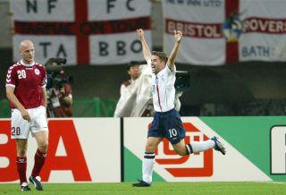 England v Denmark – Michael Owen (R)