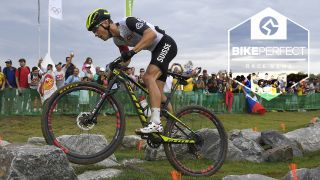 Nino Schurter competing in the 2016 Olympics XCO course