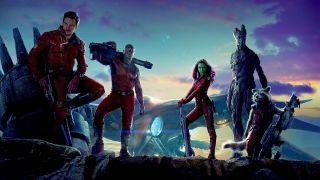 Star-Lord, Gamora, Drax, Groot and Rocket posed in Guardians of the Galaxy banner