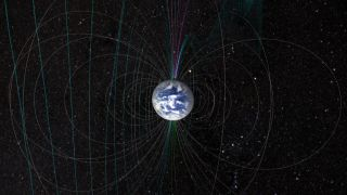The shape of Earth's magnetic field is the result of both the planet's north and south magnetic poles as well as the stream of particles coming from the sun.