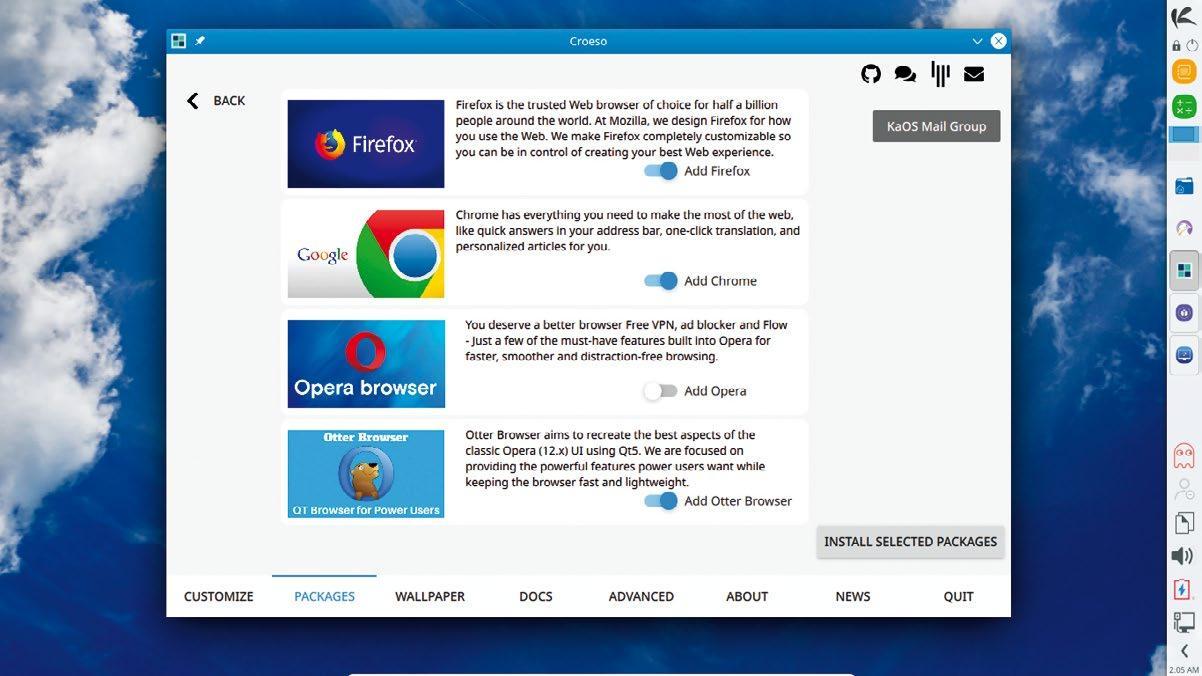 screenshot of KaOS