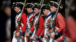 A historical reenactment of the British preparing to fight in the Revolutionary War's Battle of Lexington and Concord, which was hosted by the Huntington Beach Historical Society in February 2020.