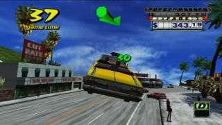 Crazy Taxi, with large objective arrow.