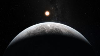A super-Earth planet and its star from the perspective of the super-Earth.