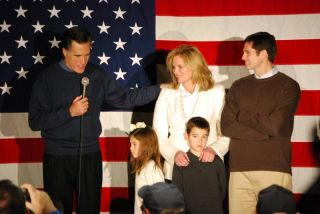 Mitt Romney campaigning with his family.