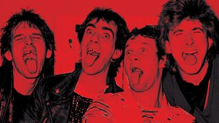 Portrait of the four-piece The Dirty Strangers, all sticking their tongues out