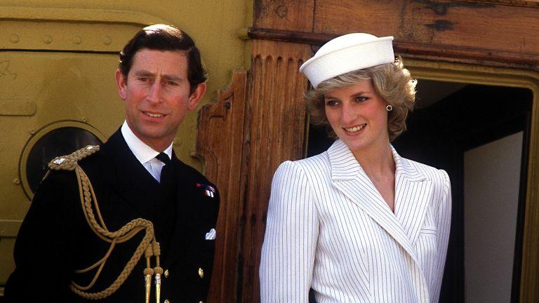 Prince Charles and Diana at an Italian naval base at La Spezia