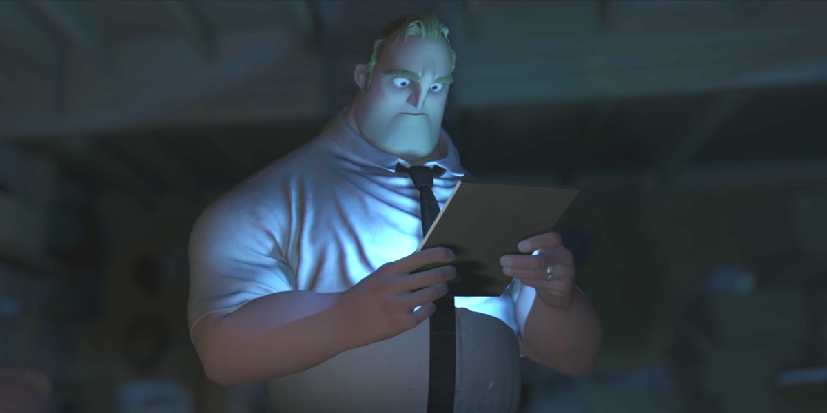 Mr. Incredible looking at a tablet