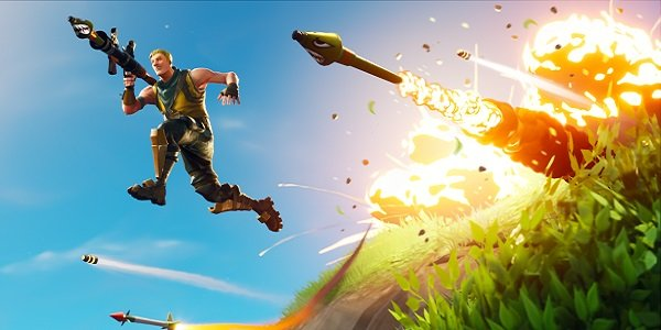 A players flees rockets in Fortnite.