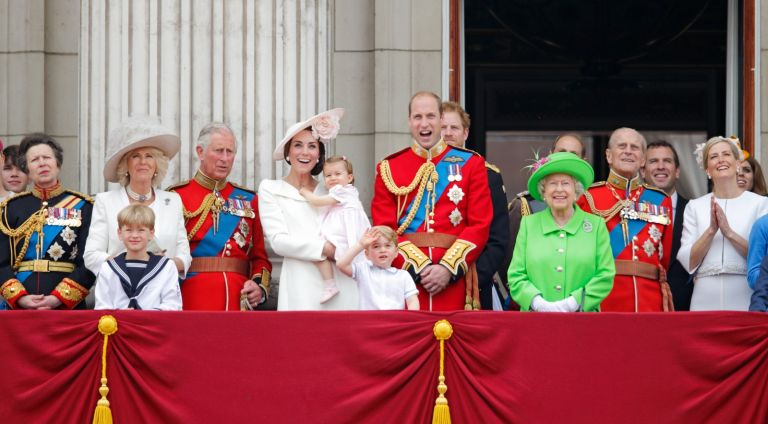 Zara Phillips, Princess Anne, The Princess Royal, Camilla, Duchess of Cornwall, Prince Charles, Prince of Wales, Catherine, Duchess of Cambridge, Princess Charlotte of Cambridge, Prince George of Cambridge, Prince William, Duke of Cambridge, Prince Harry, Queen Elizabeth II, Prince Philip, Duke of Edinburgh, Peter Phillips, Sophie, Countess of Wessex, James, Viscount Severn, Lady Louise Windsor, and Prince Andrew, Duke of York watch the flypast from the balcony of Buckingham Palace during Trooping the Colour, this year marking the Queen's 90th birthday on June 11, 2016 in London, England.