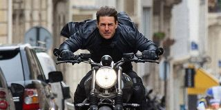 Tom Cruise on a motorcycle in Mission: Impossible Fallout