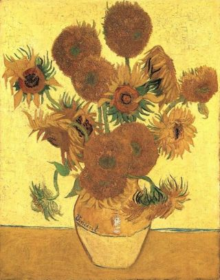 "An image of ""Vase with Fifteen Sunflowers'' by Vincent van Gogh"