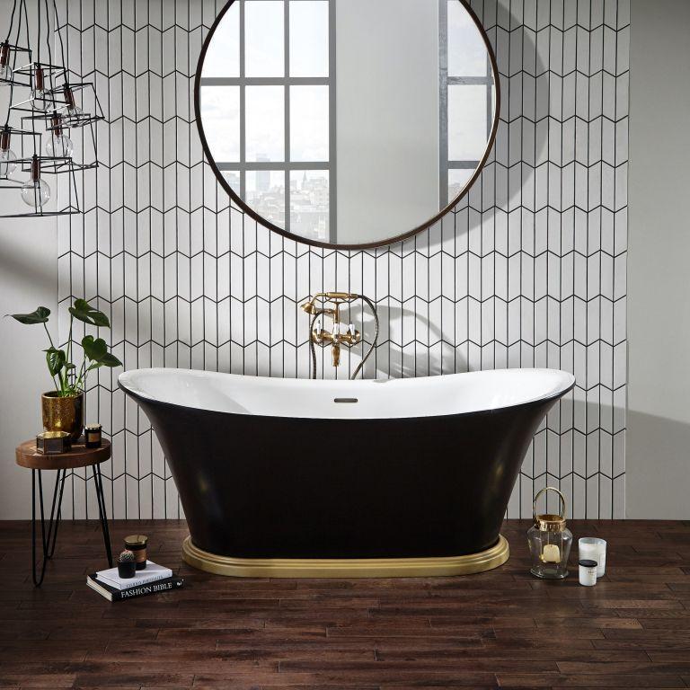 contemporary feeling black bathroom with black freestanding bath