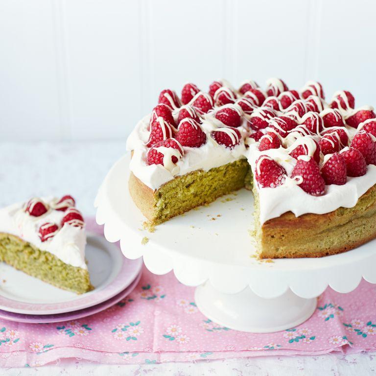 Matcha Cake with Raspberries and White Chocolate