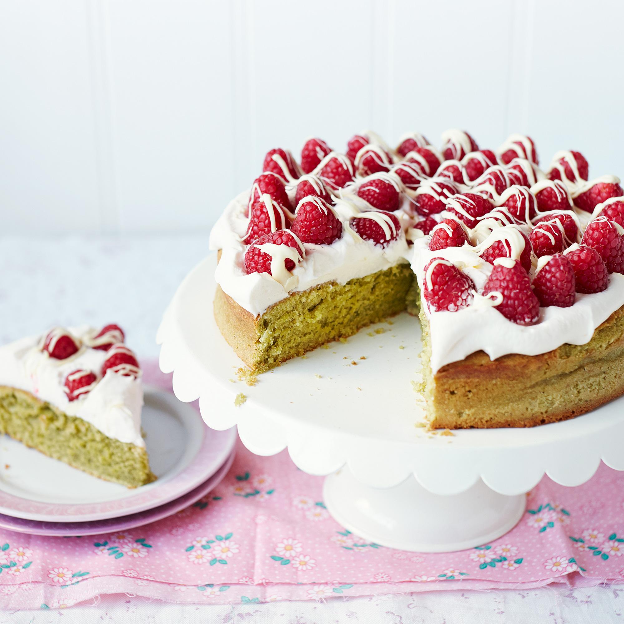 Matcha Cake With Raspberries And White Chocolate Dessert Recipes Woman Home