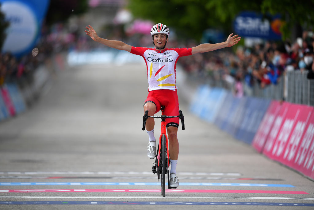 GUARDIA SANFRAMONDI ITALY MAY 15 Victor Lafay of France and Team Cofidis celebrates at arrival during the 104th Giro dItalia 2021 Stage 8 a 170km stage from Foggia to Guardia Sanframondi 455m girodiitalia Giro UCIworldtour on May 15 2021 in Guardia Sanframondi Italy Photo by Stuart FranklinGetty Images