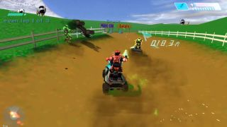 Spartans ride Warthogs around Moo Moo Farm in Halo Kart