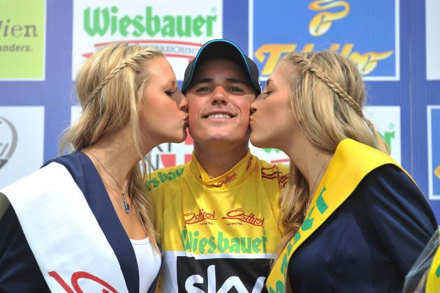 Peter Kennaugh celebrates retaining the leaders jersey following the Stage 7 ITT of the 2014 Tour of Austria