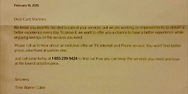 Time Warner Sends Letter To Cable Customer Calling Her A C