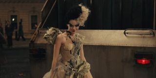 Emma Stone in newspaper dress in Cruella
