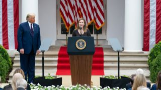 Judge Amy Coney Barrett delivers remarks after President Donald J. Trump announced her as his nominee for Associate Justice of the Supreme Court of the United States Saturday, Sept. 26, 2020, in the Rose Garden of the White House.