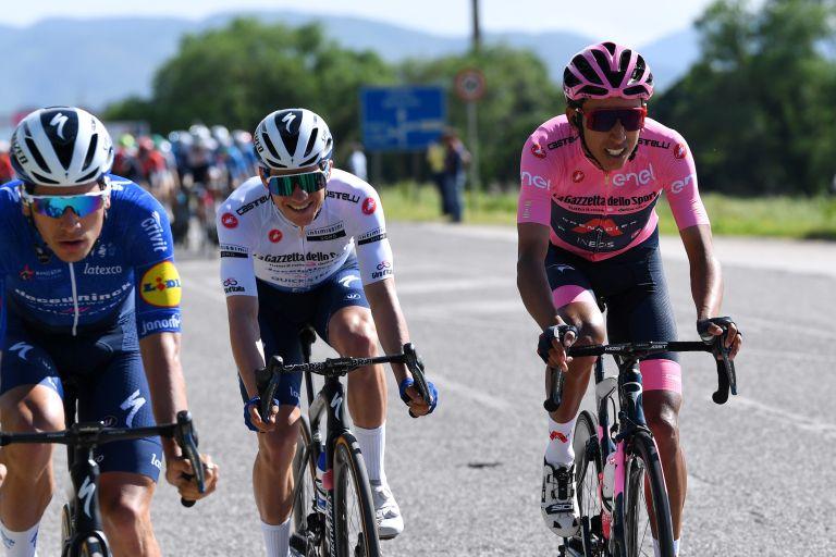 Egan Bernal and Remco Evenepoel after the intermediate sprint on stage nine of Giro d'Italia 2021