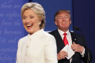 Hillary Clinton and Donald Trump after the third presidential debate on Oct. 19, 2016.