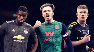 Kevin De Bruyne, Paul Pogba and Jack Grealish