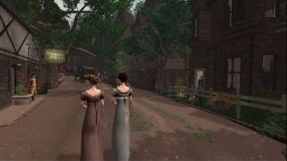 2 stately ladies walk down a village street