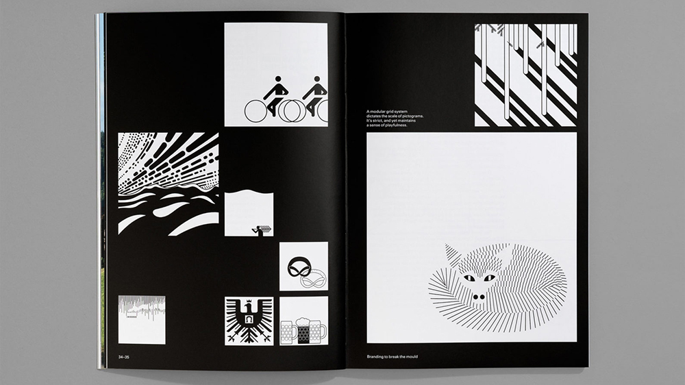 Layout shows black and white illustrations arranged in an asymmetrical grid