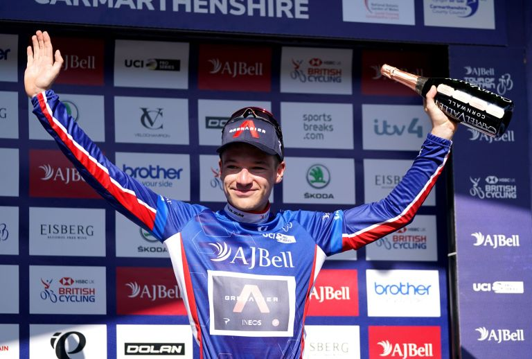 Ethan Hayter in the leader's jersey after stage three o the Tour of Britain 2021
