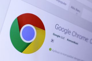 Chrome browser on desktop displaying Chrome logo.
