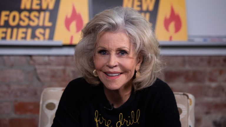Actress Jane Fonda while hosting a panel titled ''Fire Drill Friday'' to discuss Climate Change consequences with environmental activists in Washington, DC