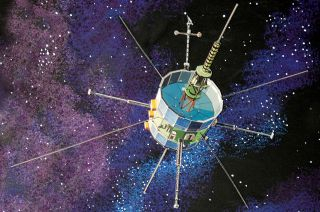 An artist's depiction of NASA's International Sun-Earth Explorer 3 spacecraft as it flies through space. The volunteer ISEE-3 Reboot Project, which hoped to move the probe closer to Earth, now says the spacecraft is out of gas.