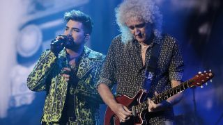 Adam Lambert and Brian May onstage at the Fire Fight Australia benefit concert