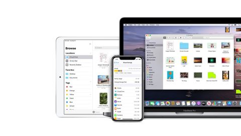 Apple iCloud depicted on a iPad, iPhone and iMac