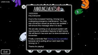 An in-game announcement warns Among Us players of emergency maintennance