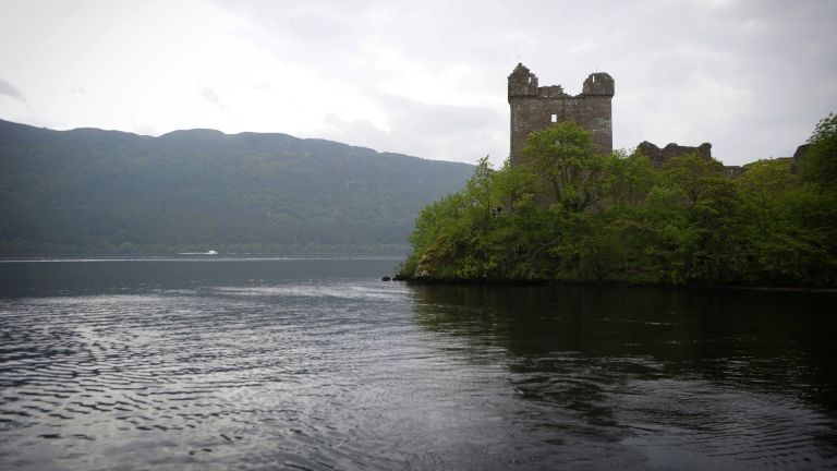 Loch Ness viewed by tourists as they travel by cruise boat on June 10, 2018.