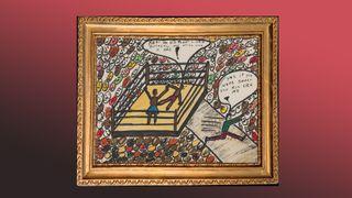 Muhammad Ali's art in a frame.