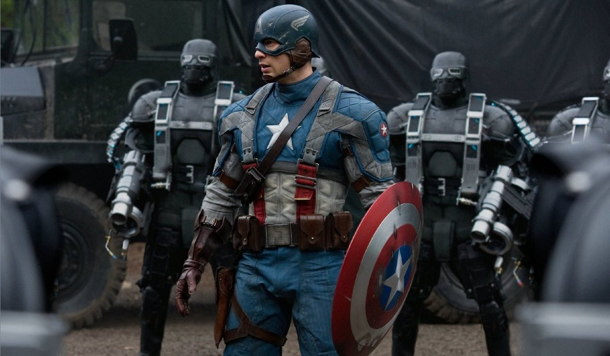 Captain America: The First Avenger Chris Evans stands in the middle of a group of HYDRA goons