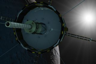 The ISEE-3 spacecraft orbiting the moon