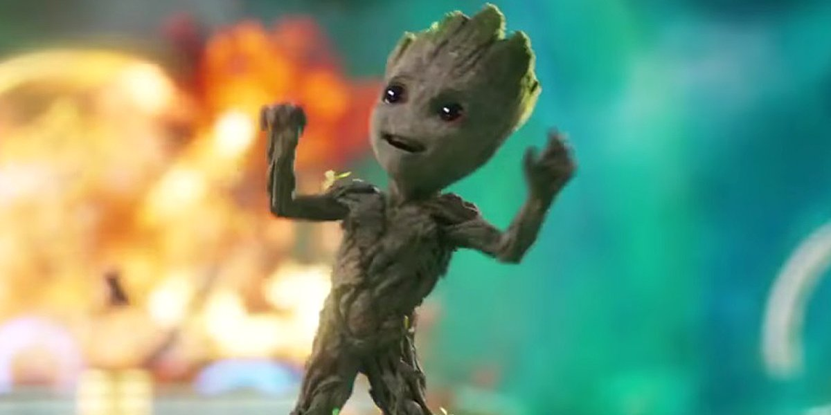Dancing Baby Groot Guardians of the Galaxy Vol. 2 opening scene Marvel