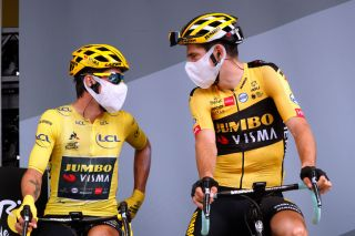 Wout van Aert (right) and Jumbo-Visma teammate – and race leader – Primoz Roglic line up ahead of stage 12 of the 2020 Tour de France
