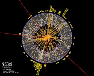 Particle tracks from a proton-proton collision (also called an event) in the ATLAS experiment at CERN's Large Hadron Collider (LHC). Events like this are a possible sign of the Higgs particle, though many events must be analyzed together to say with confi