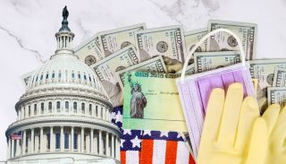 Composite image of U.S. Capitol dome, $100 bills, U.S. Treasury check, rubber gloves, surgical face mask and fragments of American flag.